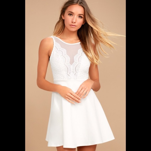 361d243a9eba10 Lulu's Dresses | Lulus White Lace Skater Dress For Homecoming | Poshmark